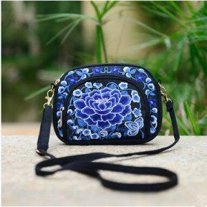 Petit sac bandoulière ethnique bleu foncé