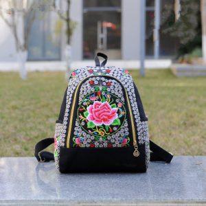 Sac à dos motif ethnique fleur rose